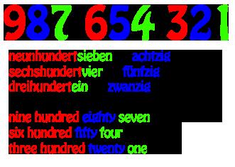 German numbers - Cardinal numbers