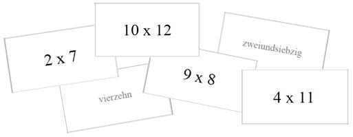 German numbers - Multiplication flashcards