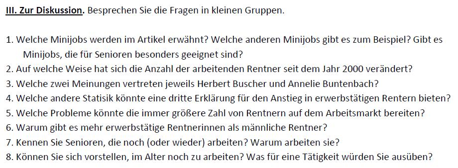 """Teaching Deutsche Welle Top-Thema """"Arbeiten trotz Rente"""" - Diskussion"""