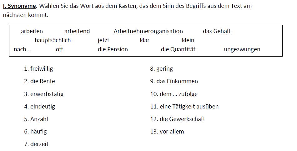 Teaching Deutsche Welle Top-Thema Arbeiten trotz Rente - Synonyme