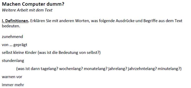 """Teaching Deutsche Welle Top-Thema """"Machen Computer dumm?""""-Definitionen"""
