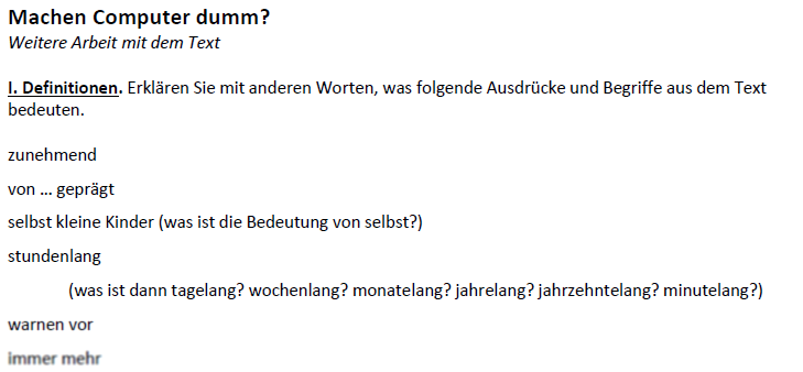 "Teaching Deutsche Welle Top-Thema ""Machen Computer dumm?""-Definitionen"