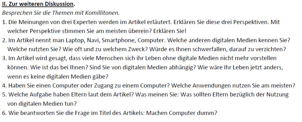 """Teaching Deutsche Welle Top-Thema """"Machen Computer dumm?""""-Diskussion"""
