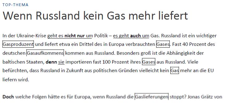 """Teaching Deutsche Welle Top-Thema """"Wenn Russland kein Gas mehr liefert"""" - Text cohesion"""