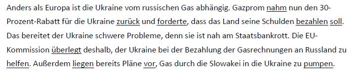 """Teaching Deutsche Welle Top-Thema """"Wenn Russland kein Gas mehr liefert"""" - Verbanalyse"""