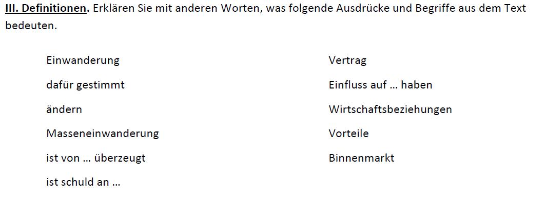 """Teaching Deutsche Welle Top-Thema """"Die Schweiz auf Isolationskurs"""" - Definitionen"""