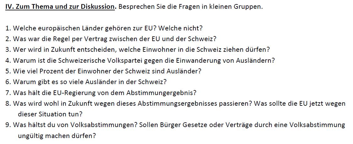 """Teaching Deutsche Welle Top-Thema """"Die Schweiz auf Isolationskurs"""" - Diskussion"""