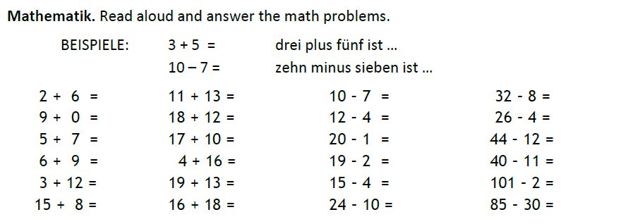 German numbers - Addition