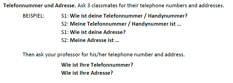 German numbers - Addresses and telephone numbers 2