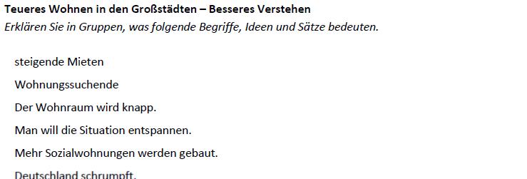 """Teaching Deutsche Welle """"Teures Wohnen in Großstädten"""" - Besseres Verstehen"""
