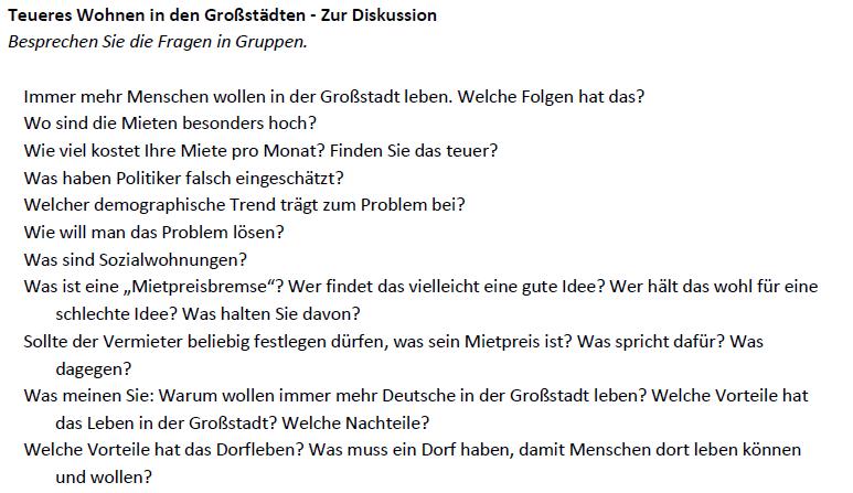 """Teaching Deutsche Welle """"Teures Wohnen in Großstädten"""" - Diskussion"""
