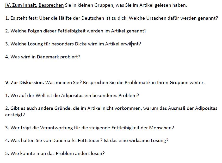 Die Hälfte der deutschen ist zu dick - Fragen