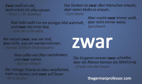 The German adverb zwar