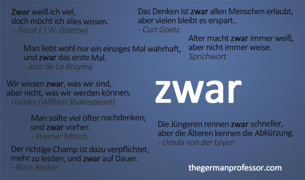 The German adverb zwar